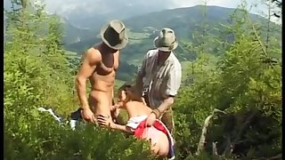 extreme threesome orgy coition in nature