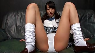 Japanese schoolgirl squats and flashes their way white panty