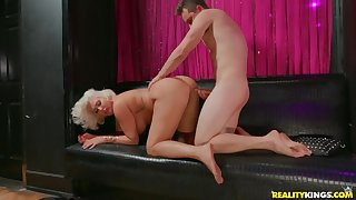 Super chubby aggravation on a cock riding blonde mother
