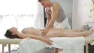 Skinny nymph and naughty massage
