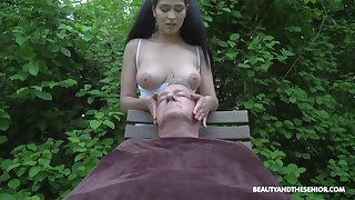 Ava Black plays with senior man's cock in down than enough ways