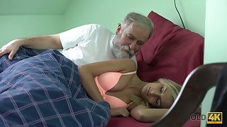 Old lady's man licks and fucks pussy of beloved kept woman Jenny Smart