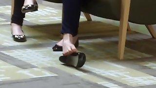 Candid 19yo Teen Shoeplay Feet at Mall